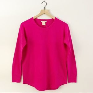 Sweet Romeo Perforated Crew Neck Sweater Hot Pink